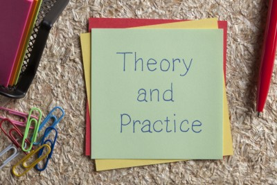 Theory and Practice written on a note.